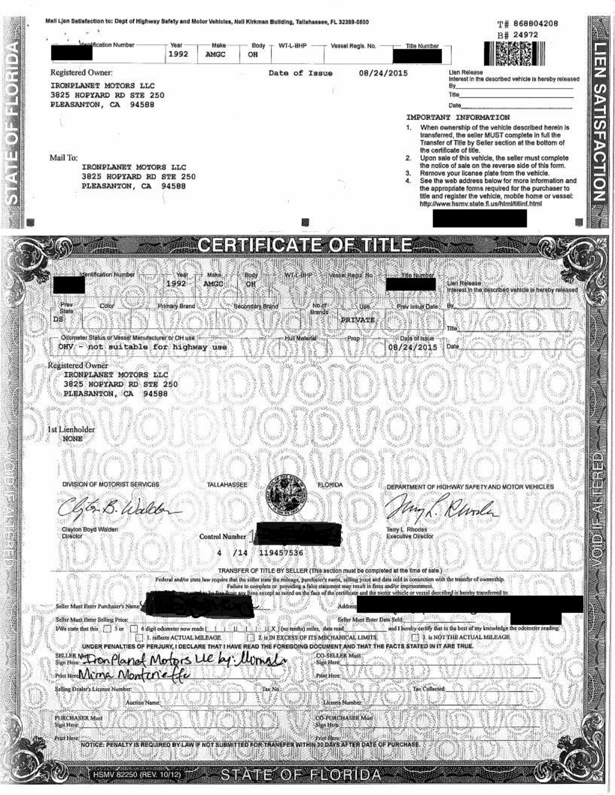 Hmmwv title iron planet fl title for Motor vehicle registration florida